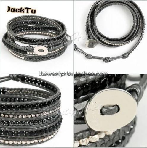 New Graduated Hematite With Sold plated beads Wrap Bracelets Leather Bracelet with Stones Wholesale Leather Jewelry