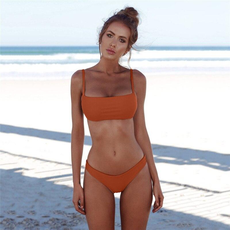 df49d4bbf1d58 7 Colors Hot Sale Summer Women Solid Bikini Set Maillot De Bain Taille Haute  Brazilian Triangle