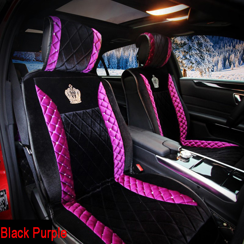 Fashion Stud Crystal Plush Car Seat Cushion Universal Winter Bling Rhinestone Crown Auto Seat Covers for Women Purple, Black