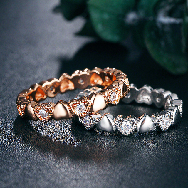 IF YOU 1pc Rose Gold Love Heart Crystal Rings High Quality Engagement Fashion Cubic Zirconia Ring For Women Ring Jewelry