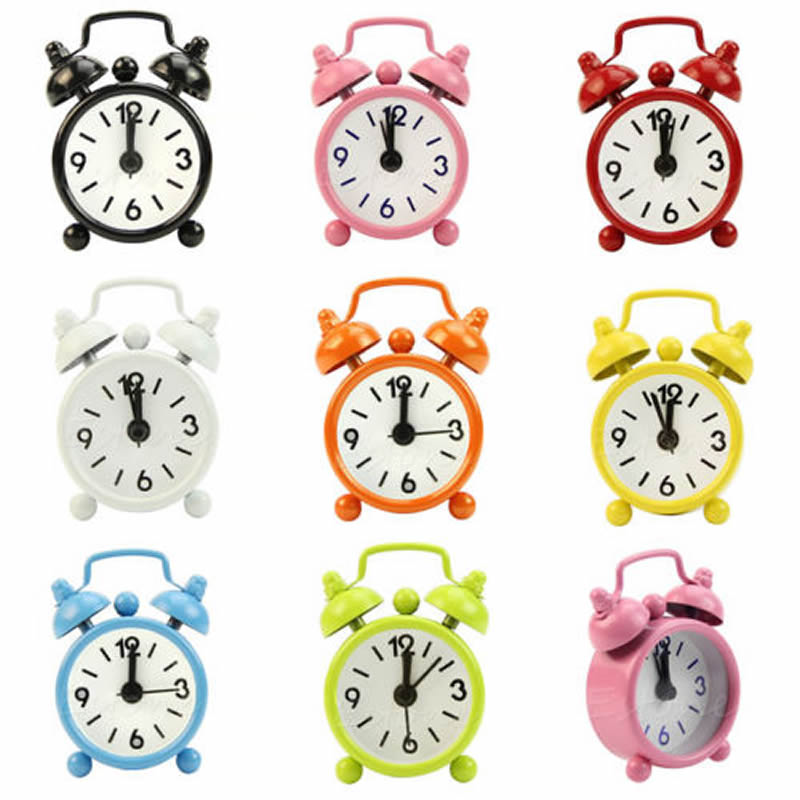 New Home Outdoor Portable Cute Mini Cartoon Dial Number Round Desk Alarm Clock New Drop shipping