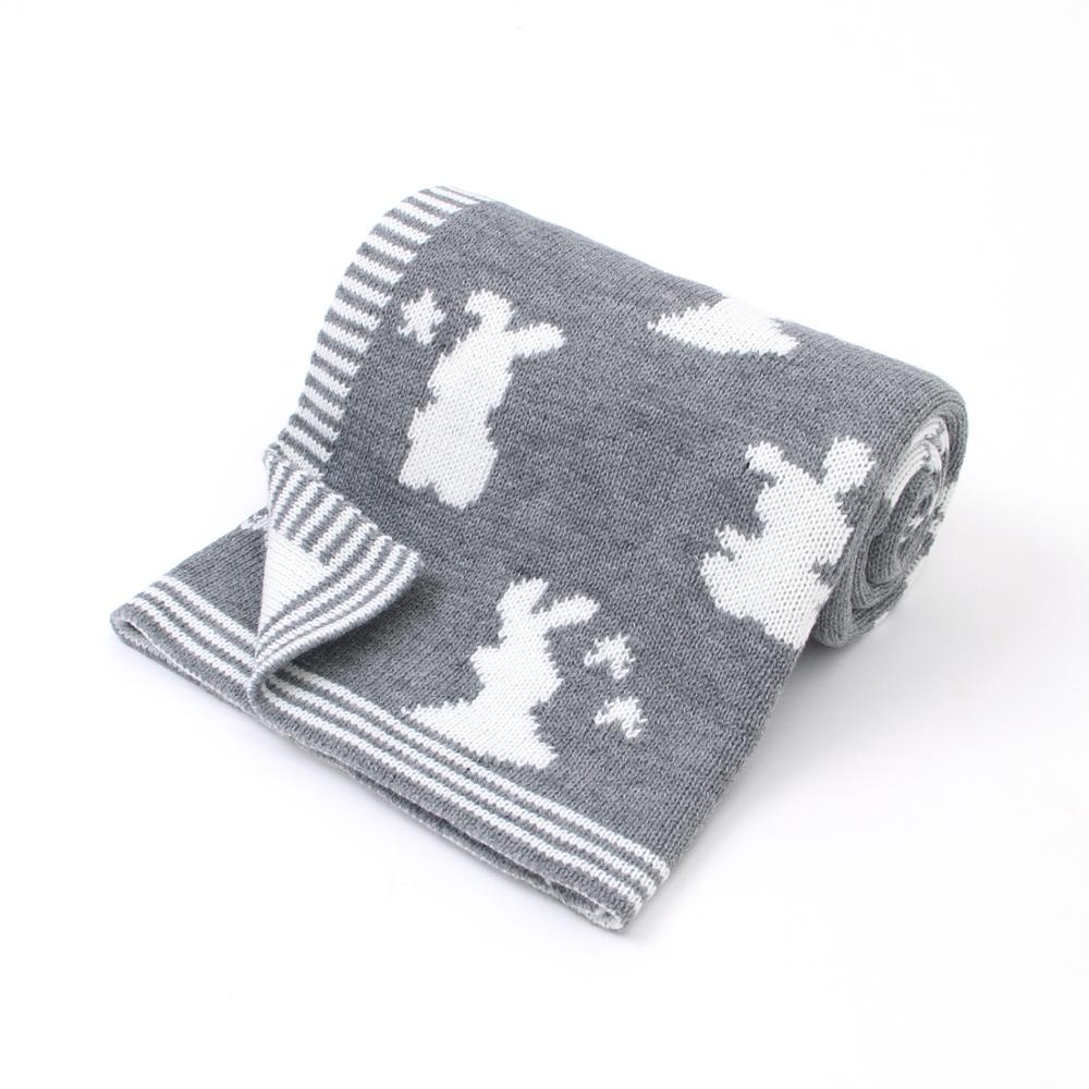 Baby Blankets Animal Rabbit Knitted Newborn Swaddle Wrap Toddler Girls Basket Carseat Covers Super Soft Kids Boys Throwing Quilt in Blanket Swaddling from Mother Kids