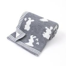 Newborns Baby Swaddle Wrap Blanket Animal Rabbit Knitted Toddler Girls Basket Carseat Covers Super Sof Kids Boys Throwing Quilts