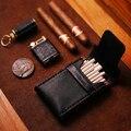 Ретро кожаный деревянный серии тонкий футляр для сигарет коробка 20 шт портативный тонкий креативный черный ультра-тонкий Подарочный держа...