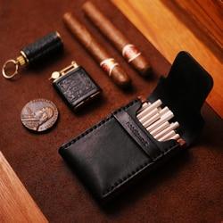 Retro skórzane drewniane serie Slim rury papierośnica Box 20 sztuk przenośne grzywny kreatywny czarny ultra cienki prezenty papieros Holder w Akcesoria do papierosów od Dom i ogród na