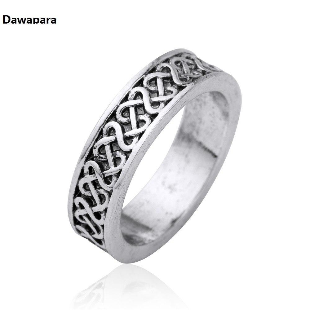 Dawapara Antique Silver Wicca Black Engraving Norse Viking Runes Rock Punk  Vintage Men Party Mythology Ring