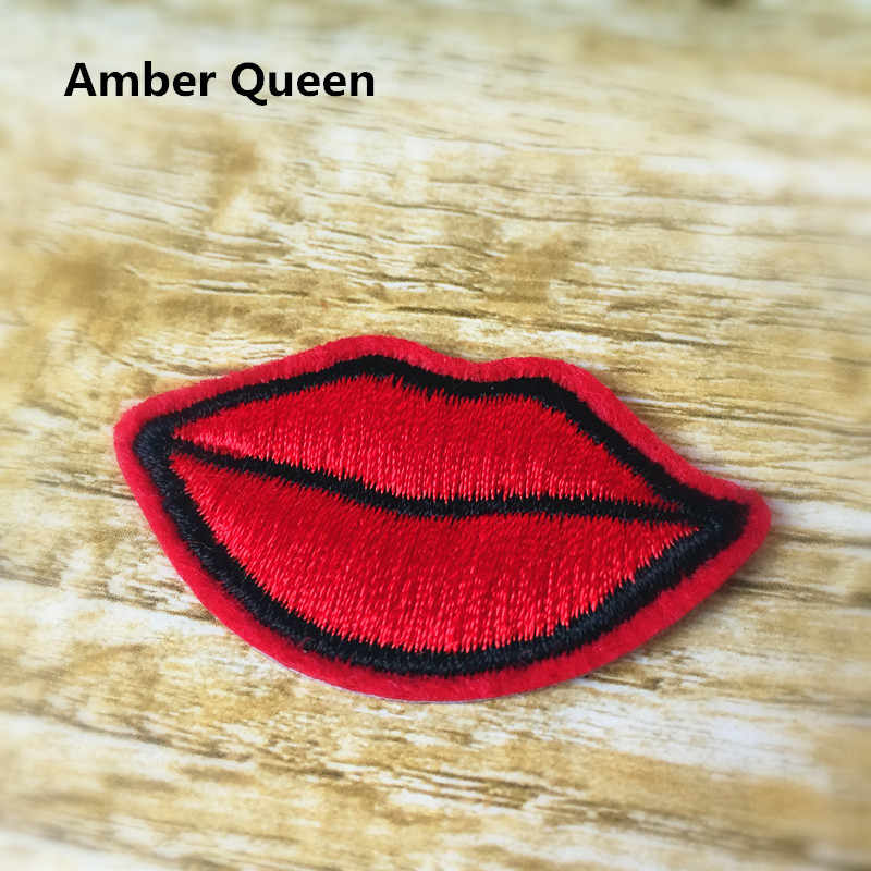 Clothes Embroidered Iron-on Patches for Clothing 10pcs/lot Red Lips Deal with it DIY Motif Applique Free shipping 16BT015