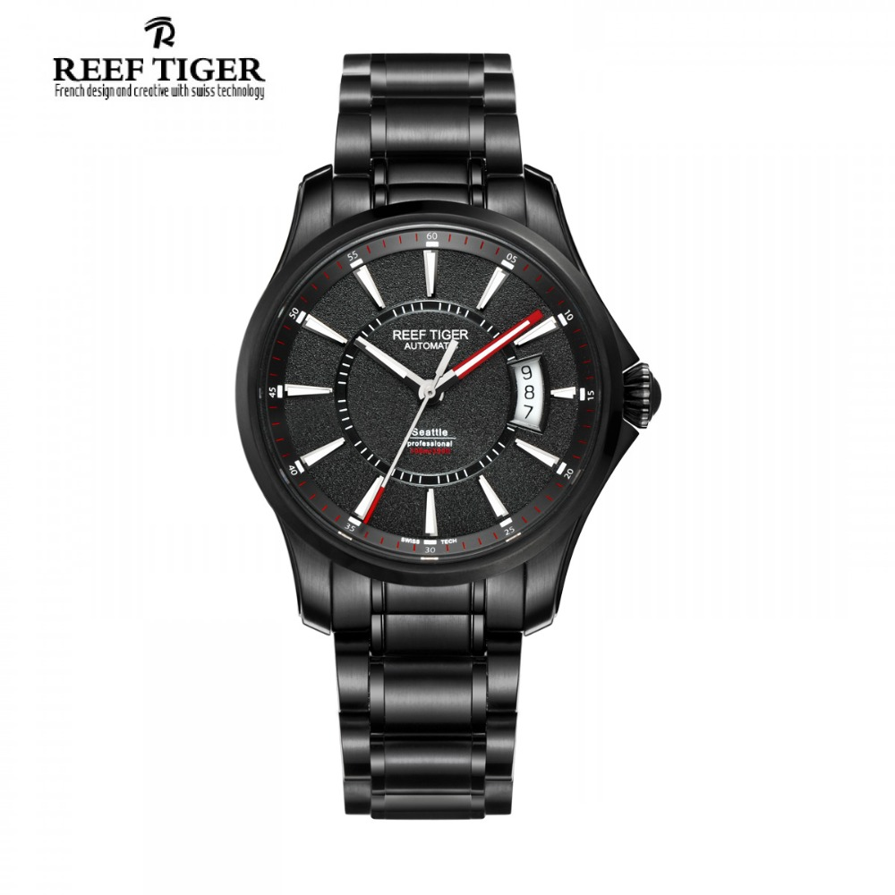 Reef Tiger/RT Watch Seattle Sports For Men Automatic Watches Big Date Black Steel Watch with Super Luminous RGA166 yn e3 rt ttl radio trigger speedlite transmitter as st e3 rt for canon 600ex rt new arrival