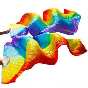Image 1 - Varitas de bambú hechas a mano accesorios de baile abanico para danza del vientre seda Natural 1 pieza mano izquierda + 1 pieza mano derecha danza seda abanico rayas multicolor