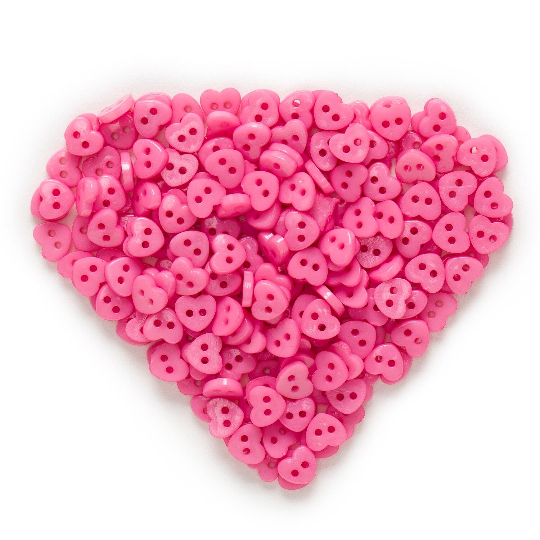 6 мм 100 шт многоцветные одноцветные дополнительные 2 отверстия мини сердце смолы кнопки для шитья скрапбукинга декоративные открытки для рукоделия - Цвет: Fuchsia
