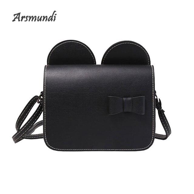 d3778f465f69 Arsmundi New Women Bag Mickey Ears Cute Handbag Fashion Bow PU Leather Shoulder  Messenger Crossbody Bag For Girls Sac A Main