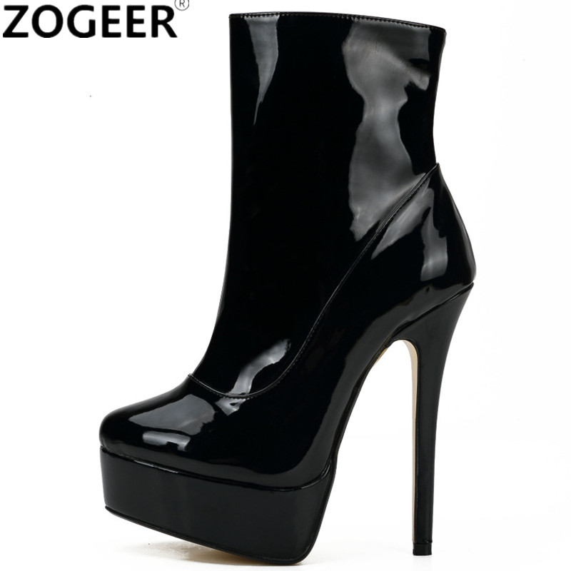 Plus size 48 New Women Ankle Boots Solid PU Leather Fashion 16CM Extreme High Heels Sexy Platform Party Wedding Shoes Woman annymoli women boots winter platform extreme high heels boots sexy fashion boots red bridal wedding party shoes big size 33 43