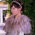 3 Pçs/lote moda genuine turquia pena de avestruz pele das mulheres poncho pashmina casaco envoltório vestido de casamento à noite