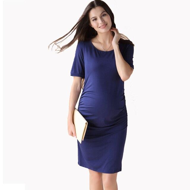 281494283 Verano de manga corta vestido de maternidad embarazo ropa para mujeres  embarazadas de la rodilla-