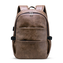 2019 Brand Men Laptop Backpack Leather School Backpack Bag Fashion Waterproof Travel Bag Casual Leather Book Bag Male Vintage цены