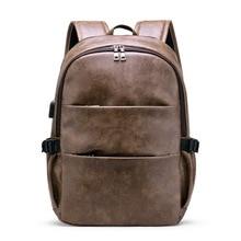 цена на 2019 Brand Men Laptop Backpack Leather School Backpack Bag Fashion Waterproof Travel Bag Casual Leather Book Bag Male Vintage