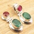 Revestimiento de plata rubi y emrald 2 Piedra Llamativos Arte Aretes de 1 Pulgadas