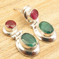 Silver Overlay rubi & emrald 2 Stone Eye-Catching Art STUD Earrings 1 Inch