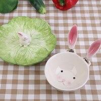 צלחת סלט קערת כלי שולחן קרמיקה צורת ארנב חג פסחא יום הילדים קישוט