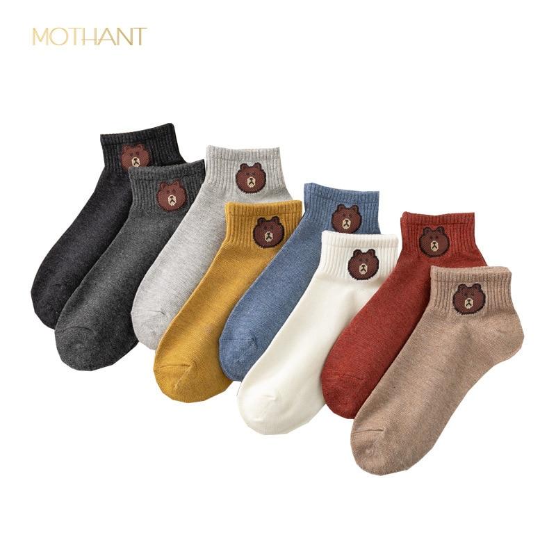 New cotton socks Japanese socks net red bear female socks cotton boat socks shallow in Socks from Underwear Sleepwears