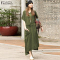 ZANZEA Fashion 2017 Womens Casual Cotton+Linen Dress Long Maxi Solid Colors Good Quality Summer Dresses Plus Size S-5XL