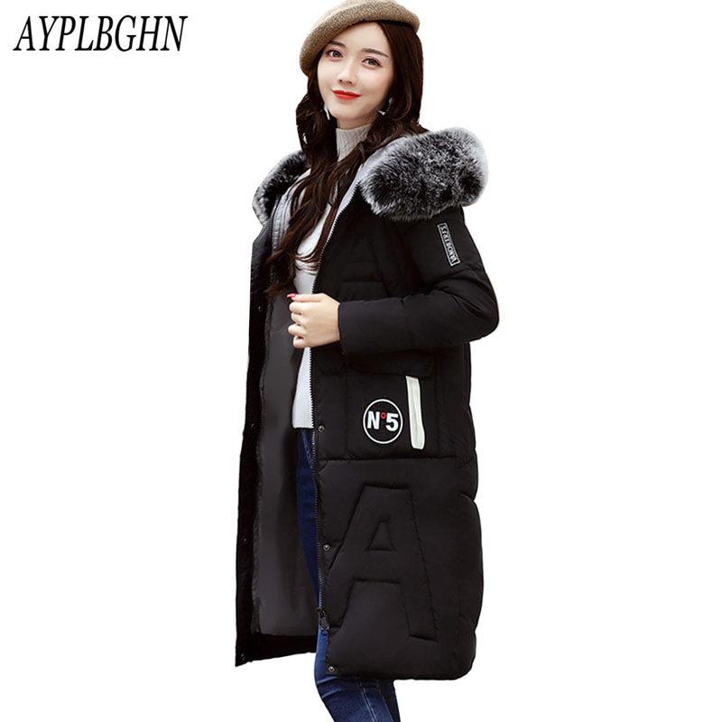 2017 New Winter Jacket Women Coat Warm Slim Thick Long Parkas high quality Fur Collar Hooded For Women Coats Female Jacket 6L57 fashion trend winter 2017 new women cotton long jacket hooded design thick warm women parkas coats high quality warm outwear