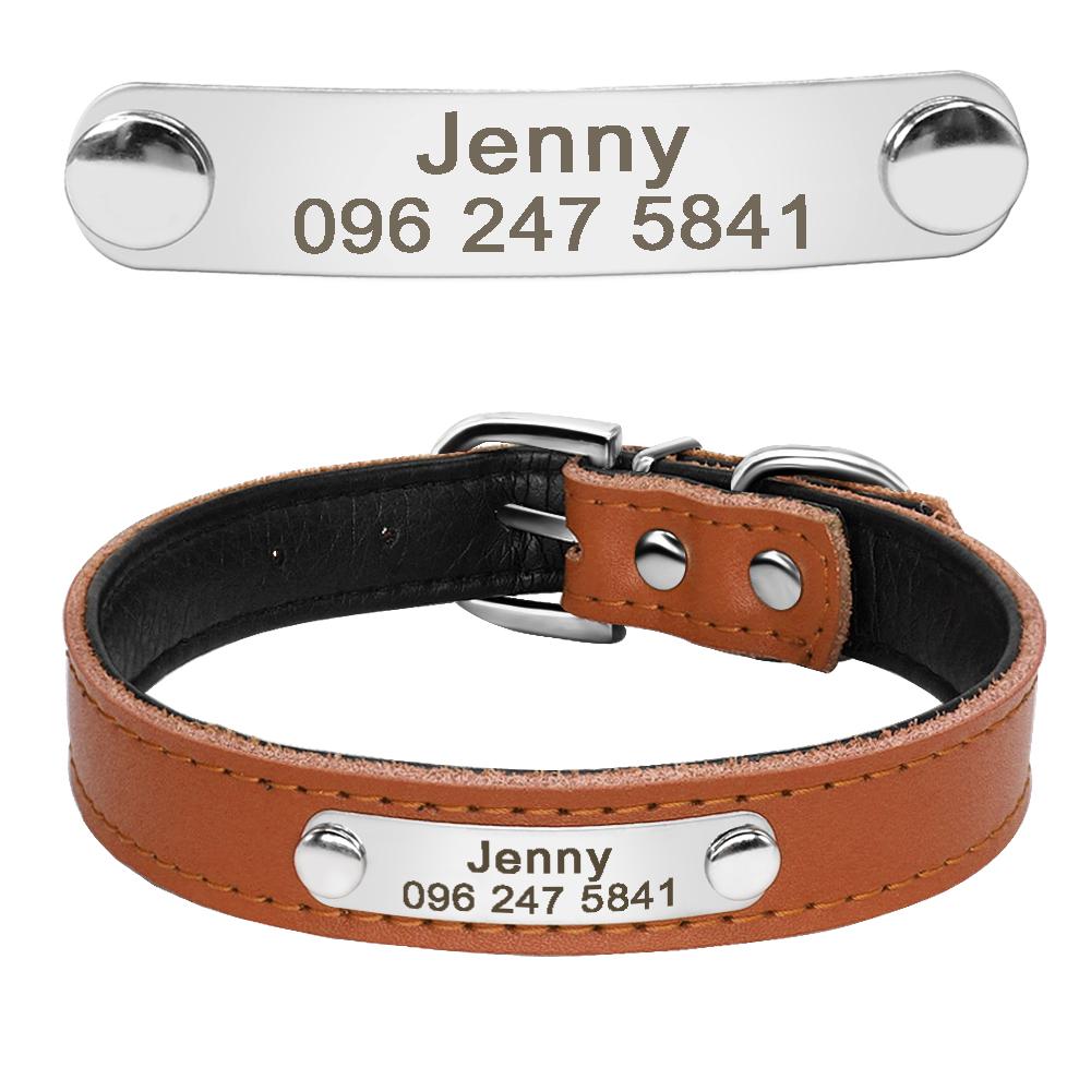 Collar de perro de cuero con relleno interior personalizado con placa de identificación grabada 12