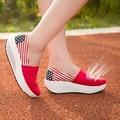 Мода 21 Цвета новый 2016 Летняя обувь Высокого качества ботинки холстины Женщин 5 СМ платформа клин обувь женская обувь QA7648