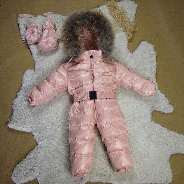 2017 мальчики зима толстые комбинезон девочки snowsuit пальто дети верхняя одежда одежда детей Твердые комбинезон младенческой костюм