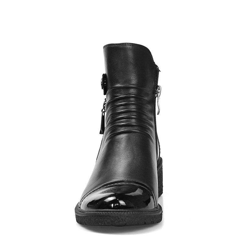 Casual Warm Round Chelsea spessi Boots Short Shoes Bootie Tacchi Donne Wet pelle Peluche Toe Zip in Kiss vera nero xTwPfqWSn