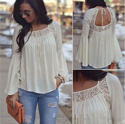 Women Summer Loose Casual Chiffon Long Sleeve Shirt Tops