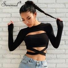 Simenual Cut out hole bow tie t-shirts for women 2018 fashion streetwear cotton autumn tshirt slim sexy hot black female t-shirt
