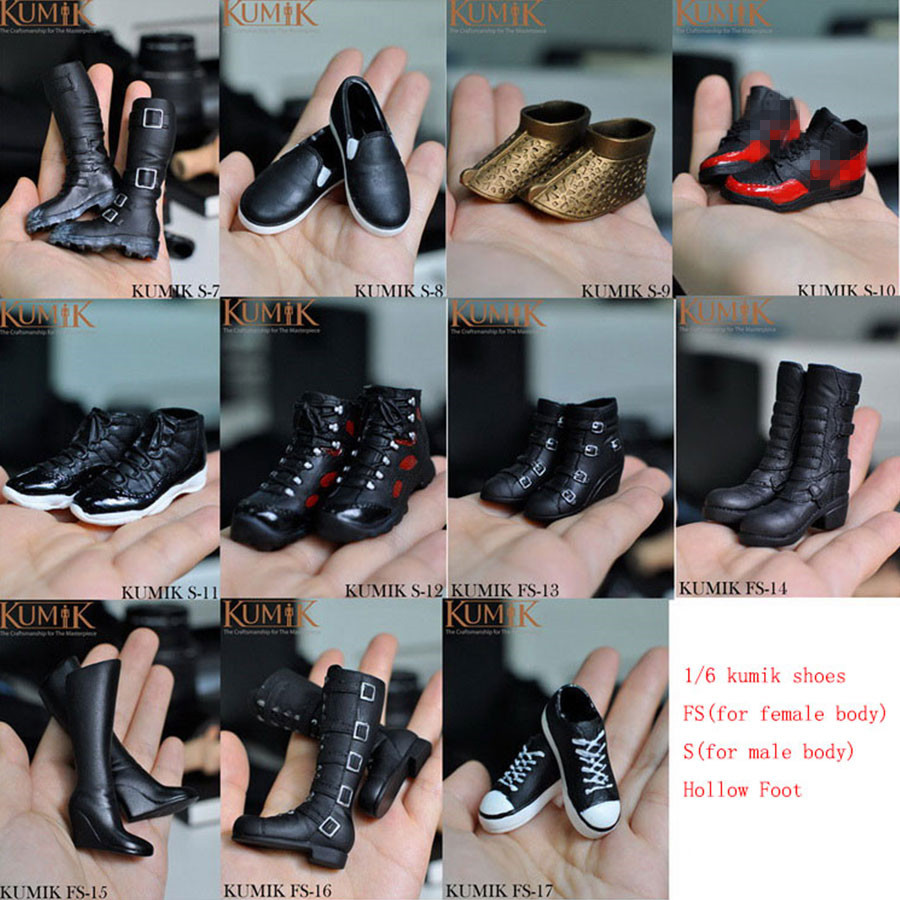 (1 Pairs) Kumik 1/6 Scale Shoes Figure Accessory For 12 Collectible Hot Toys Action Figure Body Doll Model Kids Toys Gifts B