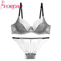 FORDAR Sexy Women Bra Set Luxury Noble Lady Lace Perspective Seamless Panties Set Transparent Breathable Sexy