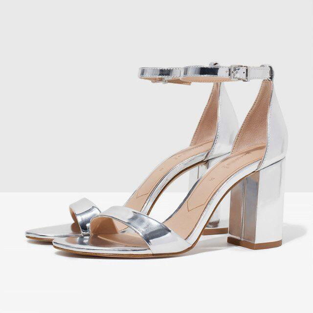 e23c523df0 2015 New Women's Summer Silver Fashion High-heeled Sandals Open Toe Metallic  Ankle Strap Buckle Chunky Heel Lady Casual Shoes
