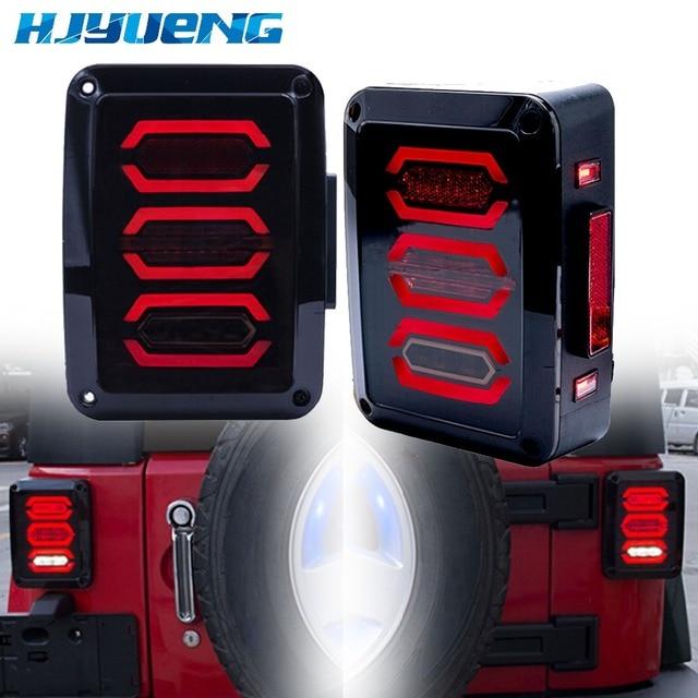 HJYUENG LED 2007 2016 Für Jeep Wrangler mit Lauf Bremse Backup Reverse Drehen Signal Licht Rücklicht Montage