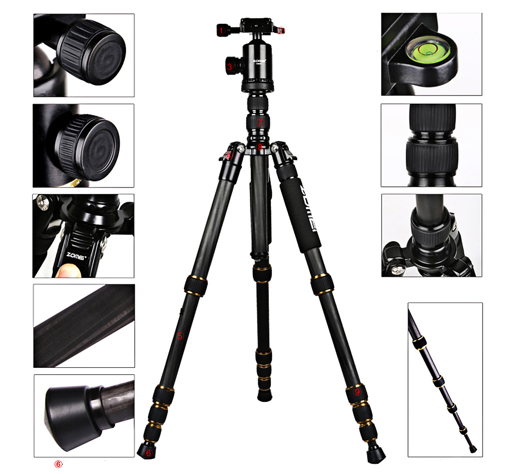 цена на ZOMEI Z699C Portable Travel Professional Carbon Fiber Tripod Monopod Ball head Lightweight Camera Stand for DSLR Digital Camera