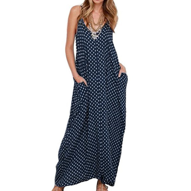 3a5d536a2691 Spaghetti Strap Dress Women Lady Casual Dark Blue Loose wave point sling  swing dress elegant Summer party dress elbise