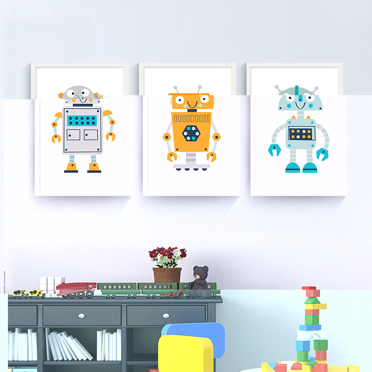 Klassisk vintage vægmalerier Vintage robot lærredsmaleri Retro - Indretning af hjemmet