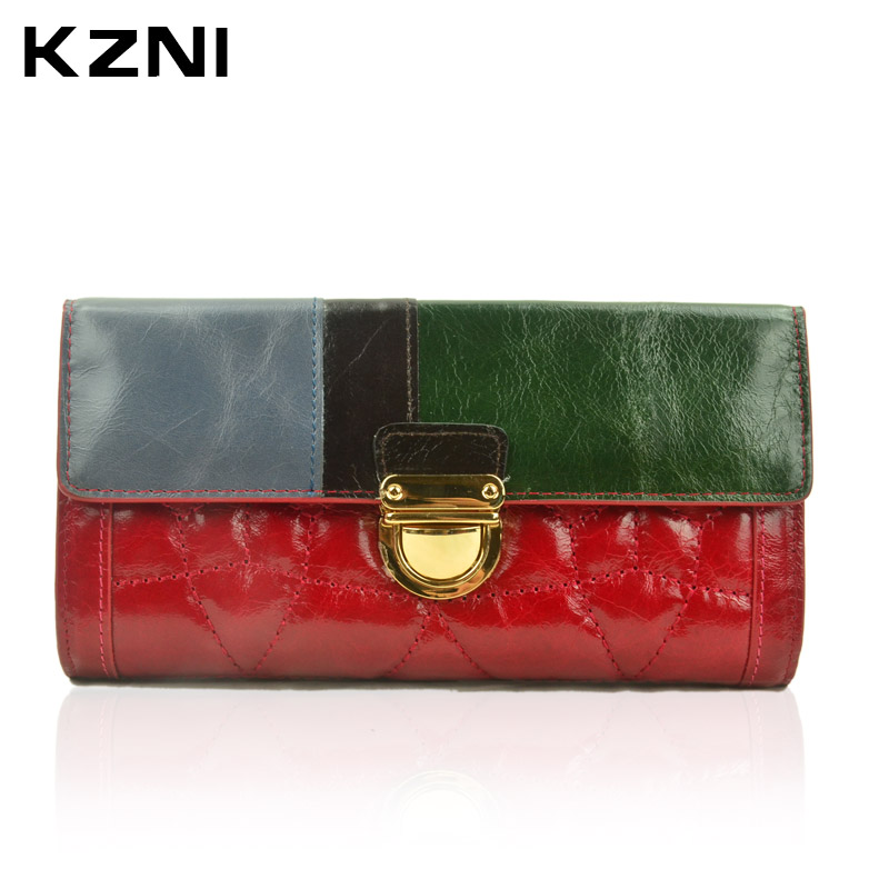 KZNI Wallet Female Designer Women Purses Genuine Leather Purse Portefeuille Femme Billeteras Para Mujer 2056F women wallets wallet purse carteira carteras portefeuille femme pu leather billeteras para mujer monederos purses famous brand
