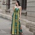 Ruiyige moda fora do ombro strapless floral print dress maxi longo sem mangas vestidos de verão branco tubo beach dress