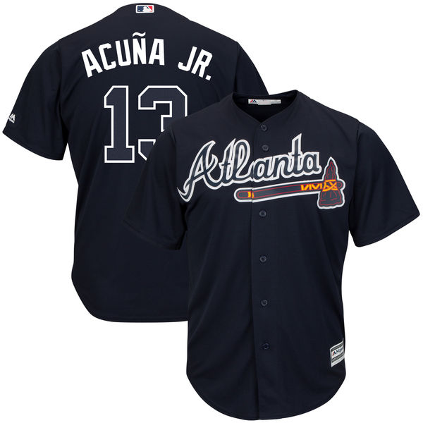 Men's Atlanta Braves Ronald Acuna Jr. Majestic Navy Alternate Official Cool Base Player Jersey