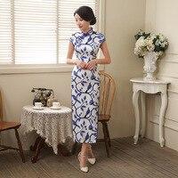 New Hot Sale Underglaze Blue Satin Mandarin Collar Cheongsam Chinese Vintage Print Qipao Flower Elegant Long