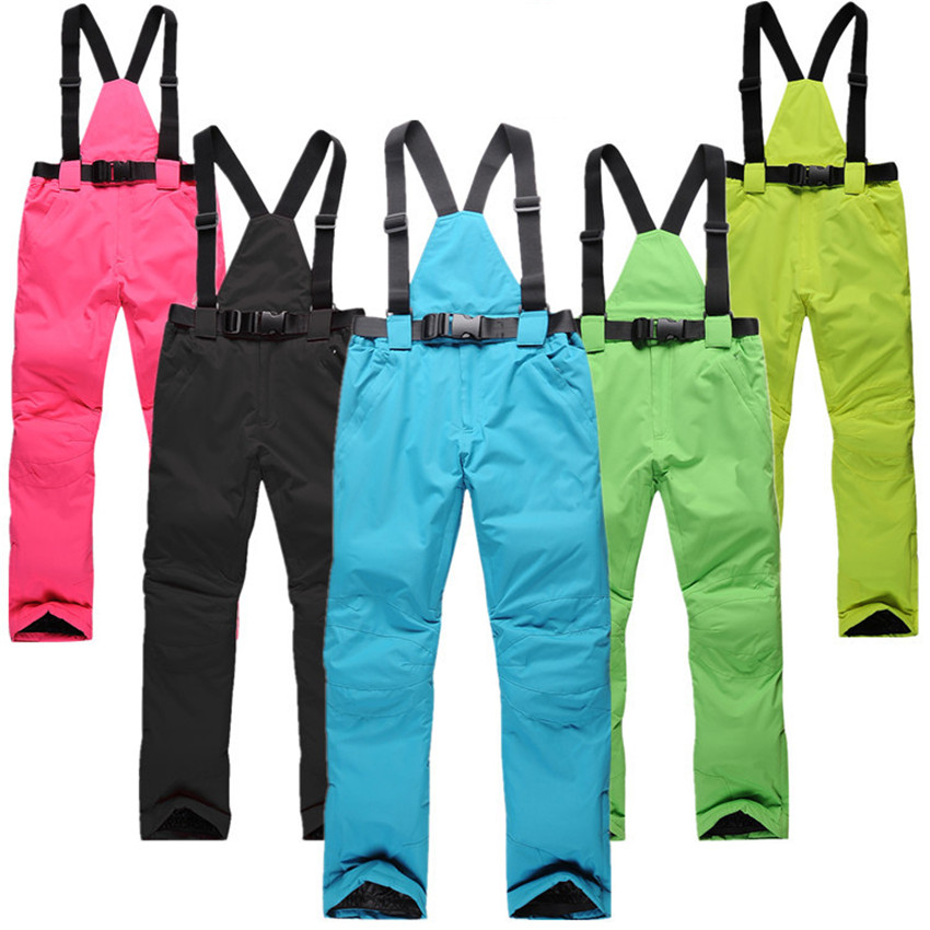 women skiing pants female male winter lovers outdoor man ski pants windproof waterproof thermal thickening suspenders trousers proof nautical clothing pants skiing pants waterproof windproof suspenders trousers sshx