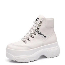 High-top Genuine Leather white sneakers For women 2019 New Brand designers Fashion ladies Leisure platform shoes