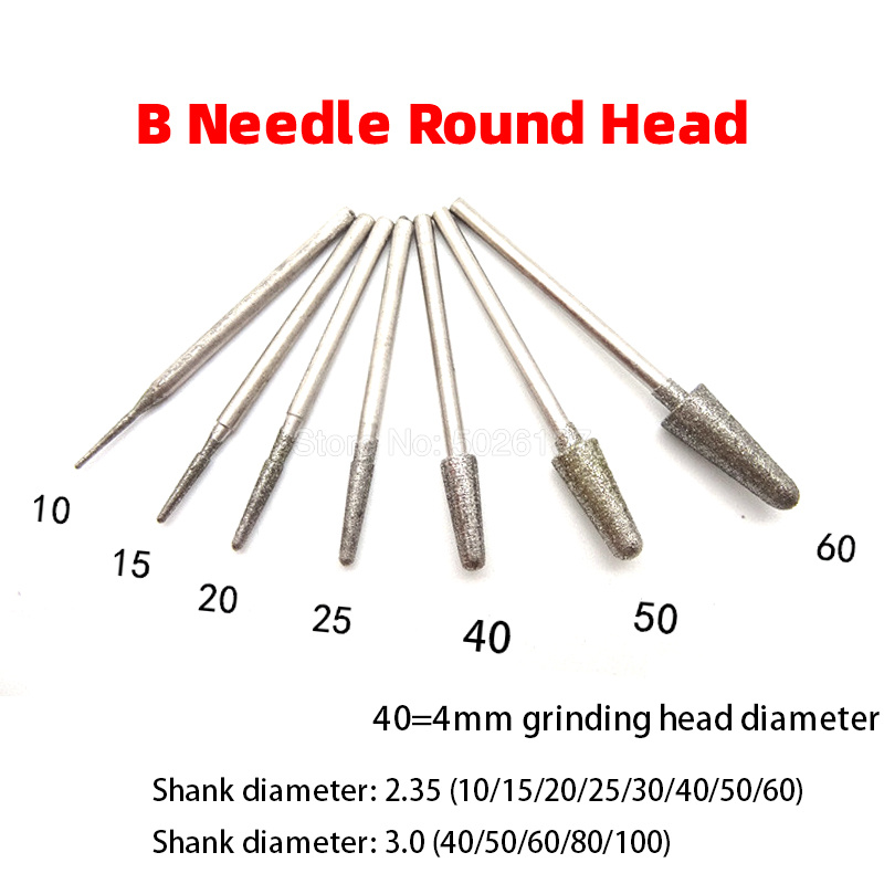 1Pcs 2.35mm/3mm Shank Diamond Grinding Head Emery Punching Pin For Stone Jade Carving Rotary Tools Cone-shape Electric Wheel
