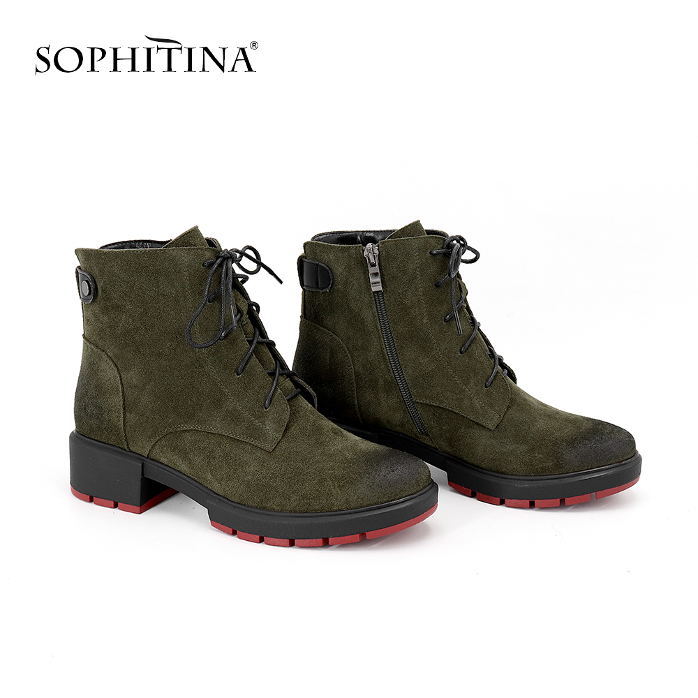 SOPHITINA 2019 New Dark Green Cow Suede Basic Boots Comfortable Med-Heel Warm Short Plush Fashion Skidproof Red Sole Boots MC89
