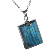 Natural Blue Light Labradorite Pendant Gemstone Women Men Fashion 20x16x7mm Rectangle Shape Crystal Moonstone AAAA
