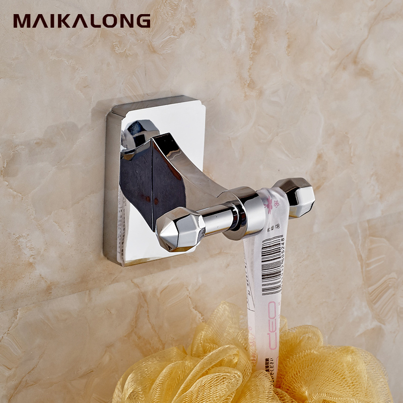 square design robe hook clothes hook brass chrome finish bathroom hardware product robe hooks bathroom accessories98series