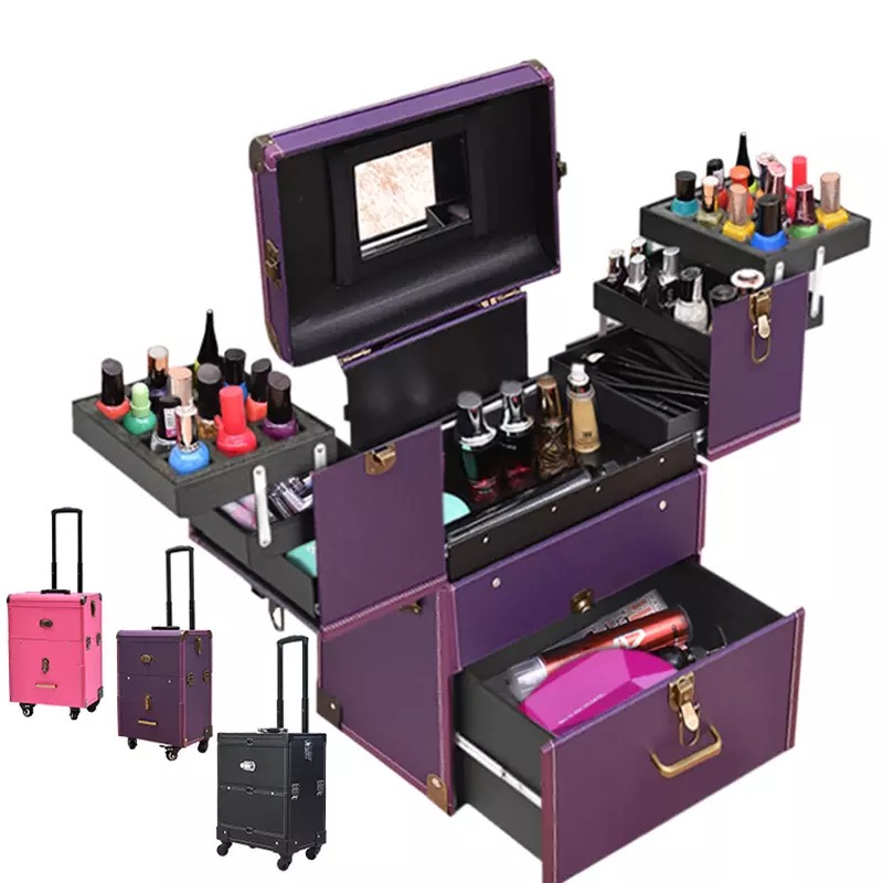 Professional high grade trolley cosmetic case large capacity multi layer rolling luggage makeup suitcase nail tattoo